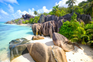 Seychellen, La Digue, Traumstrand La Source d'Argent
